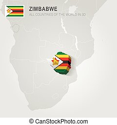 Zimbabwe drawn on gray map