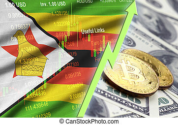 Zimbabwe flag and cryptocurrency growing trend with two bitcoins on dollar bills