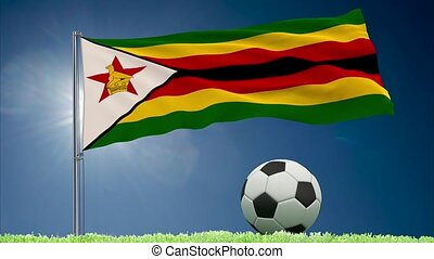 Zimbabwe flag fluttering and football rolls - Flag of...
