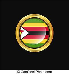 Zimbabwe flag Golden button