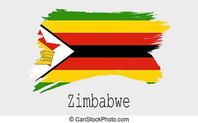 Zimbabwe flag on white background
