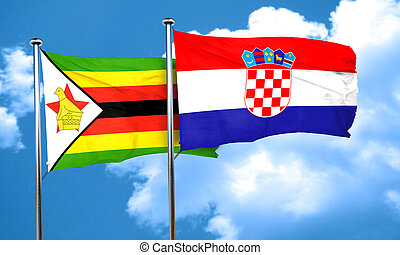 Zimbabwe flag with Croatia flag, 3D rendering