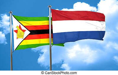 Zimbabwe flag with Netherlands flag, 3D rendering