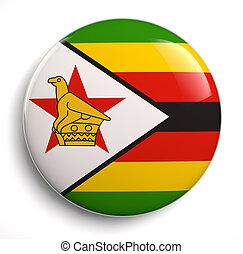 Zimbabwe flag - Zimbabwean flag icon isolated on white. ...