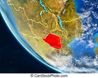 Zimbabwe from space on Earth