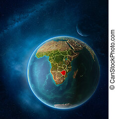 Zimbabwe from space on planet Earth