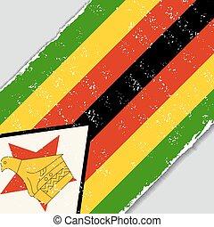 zimbabwe, grunge, flag., vetorial, illustration.