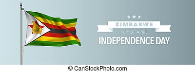 Zimbabwe happy independence day greeting card, banner vector...