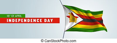 Zimbabwe happy independence day vector banner, greeting card...