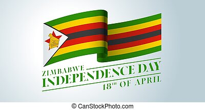 Zimbabwe happy independence day vector banner, greeting ...