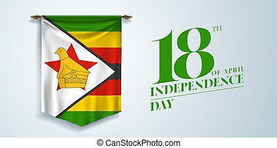 Zimbabwe independence day greeting card, banner, vector ...