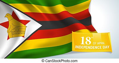 Zimbabwe independence day greeting card, banner vector ...
