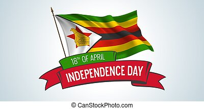 Zimbabwe independence day greeting card, banner with ...