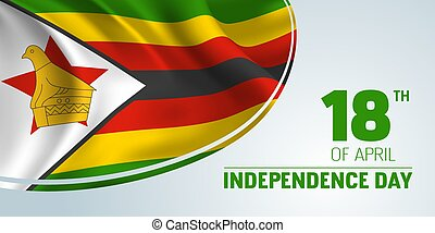Zimbabwe independence day vector banner, greeting card. ...