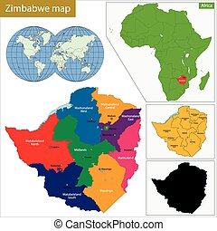 Zimbabwe map - Administrative division of the Republic of ...