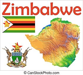 Zimbabwe map flag coat