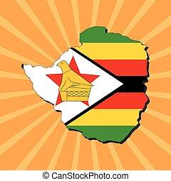Zimbabwe map flag on sunburst