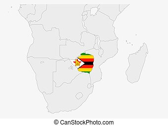 Zimbabwe map highlighted in Zimbabwe flag colors, gray map ...