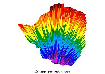 Zimbabwe - map is designed rainbow abstract colorful pattern...
