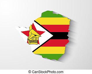 Zimbabwe map with shadow effect
