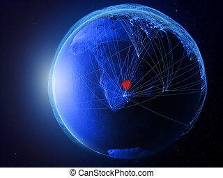 Zimbabwe on blue Earth with network