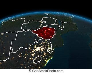 Zimbabwe on Earth at night
