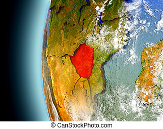Zimbabwe on planet Earth from space