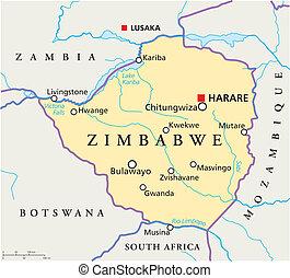 Zimbabwe Political Map - Political map of Zimbabwe with...