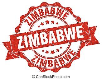 zimbabwe, redondo, cinta, sello
