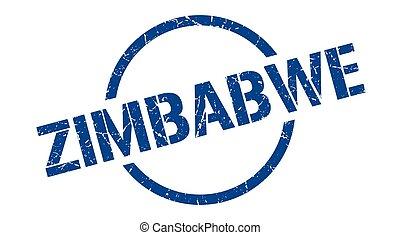 zimbabwe, redondo, grunge, aislado, señal, stamp.