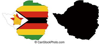 zimbabwe - vector map and flag of Zimbabwe with white ...