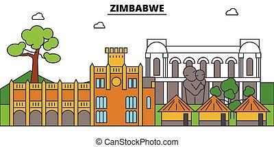 zimbabwe, vettore, silhouette, punto di riferimento, costruzioni, illustrazione, città, viaggiare, lineare, orizzonte, contorno, bandiera
