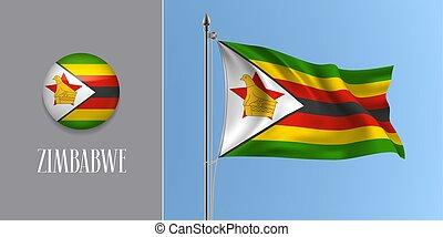 Zimbabwe waving flag on flagpole and round icon vector ...