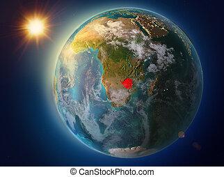 Zimbabwe with sunset on Earth