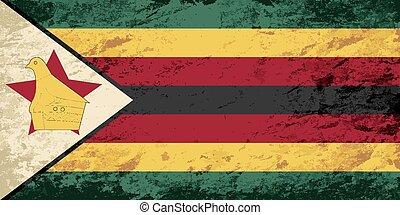 Zimbabwean flag. Grunge background. Vector illustration