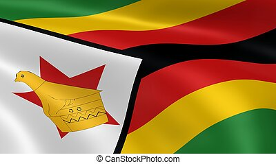 Zimbabwean flag in the wind. Part of a series.