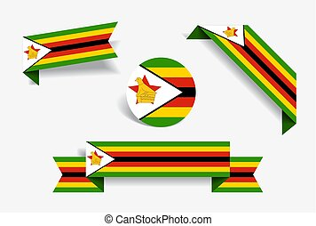 Zimbabwean flag stickers and labels. Vector illustration. - ...