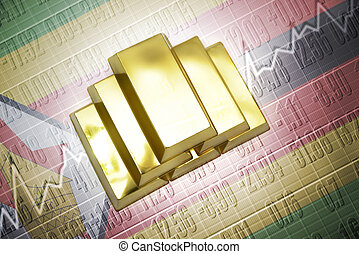 zimbabwean gold reserves - Shining golden bullions lie on a ...