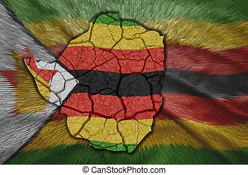 Zimbabwean Map - Map of Zimbabwe in National flag colors