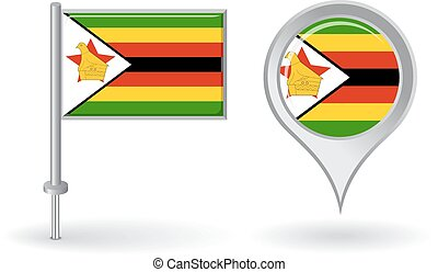 Zimbabwean pin icon and map pointer flag. Vector ...