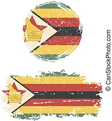 Zimbabwean round and square grunge flags. Vector ...