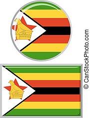Zimbabwean round and square icon flag. Vector illustration...