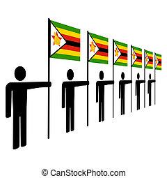 zimbabwean, uomini, bandiere, presa a terra
