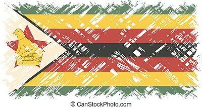 zimbabwean, vettore, grunge, illustration., flag.