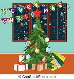 zimmer, baum, fröhlich, banner, weihnachten, leerer