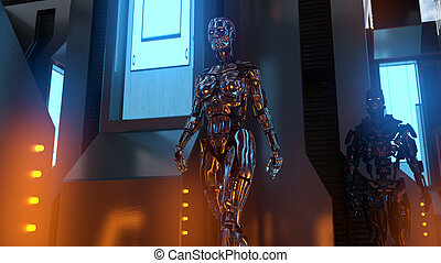 zimmer, cyborgs, zwei, zukunftsidee, metallisch