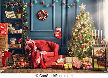 zimmer, dekoriert, für, weihnachten