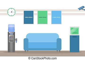 zimmer, design, bank, festempfang, interior., leerer