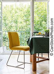 zimmer, gelber , nächste, essen, terrasse, hintergrund, inneneinrichtung, tisch, stuhl