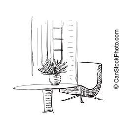 Tisch gezeichnet  EPS Vektorbilder von zimmer, hand, gezeichnet, inneneinrichtung ...